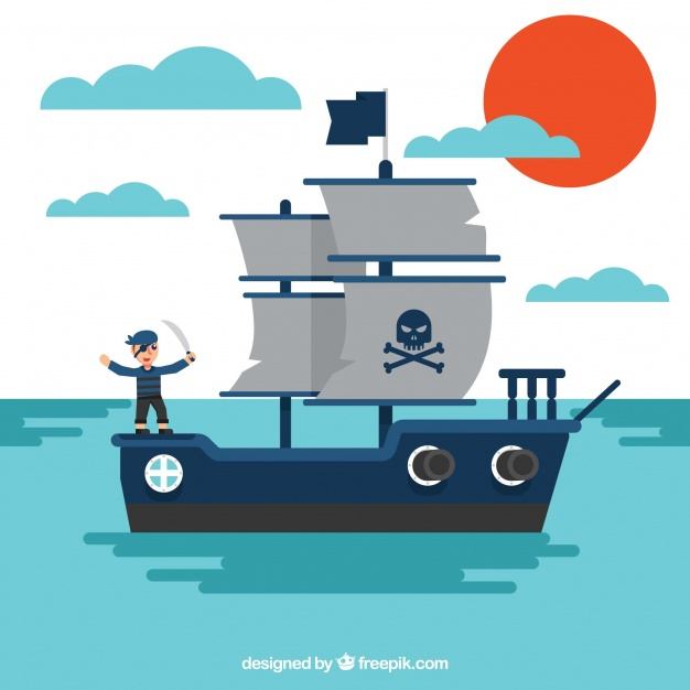 626x626 Sea Background With Pirate Ship Vector Free Download