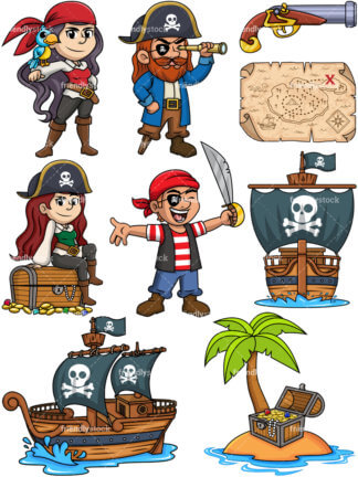 324x432 Side View Of A Pirate Ship Cartoon Clipart Vector