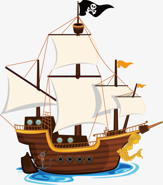 650x736 Vector Painted Pirate Ship, Large Pirate Ship, Sailboat, Painted