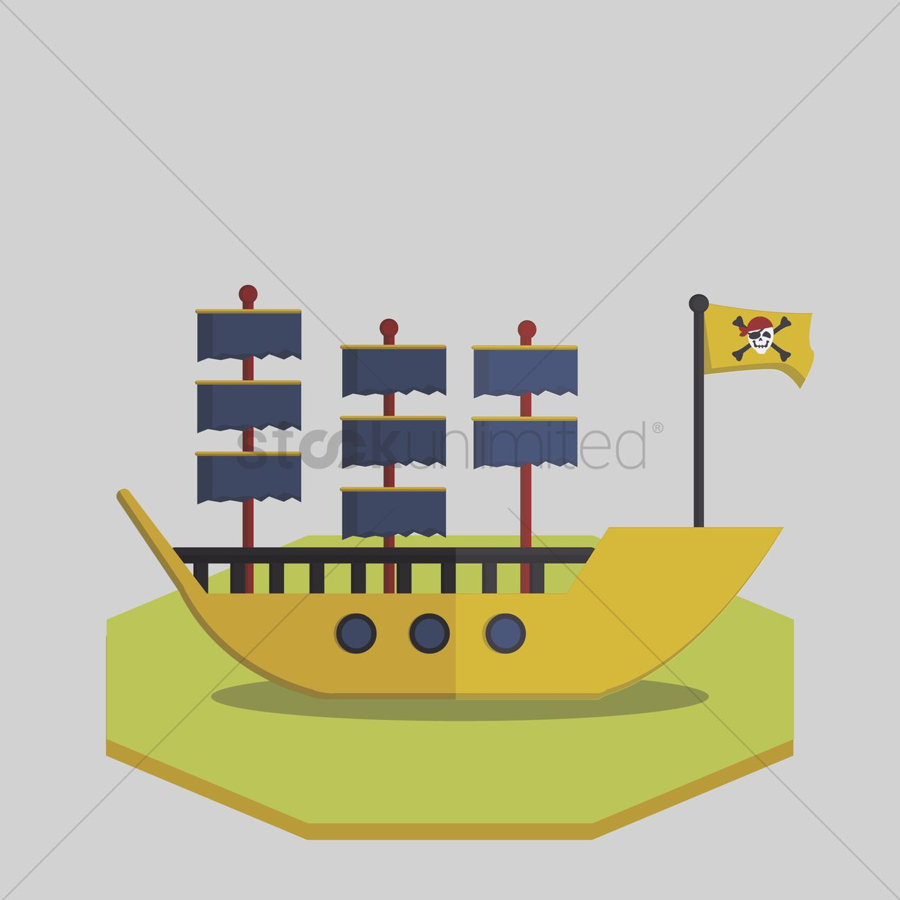 1300x1300 Free Vector Of Pirate Ship Vector Image