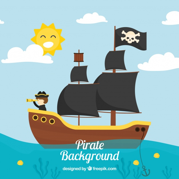 626x626 Landscape Background With Pirate Ship Vector Free Download