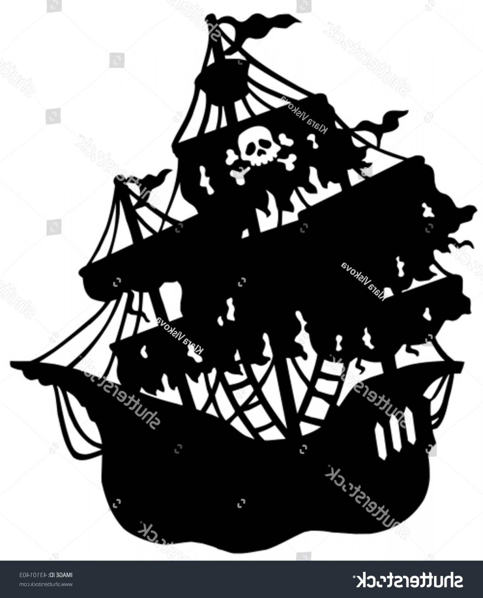 1550x1920 Mysterious Pirate Ship Silhouette Vector Illustration Lazttweet