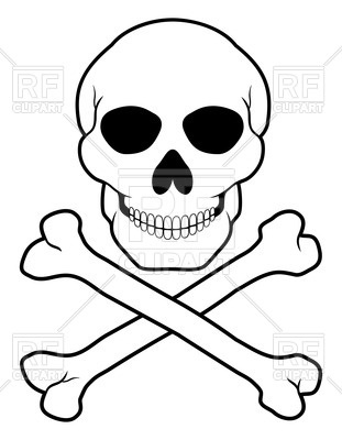 311x400 Pirate Skull And Crossbones (Outline) Vector Image Vector