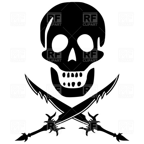 480x480 Pirate Skull And Crossed Swords Vector Image Vector Artwork Of