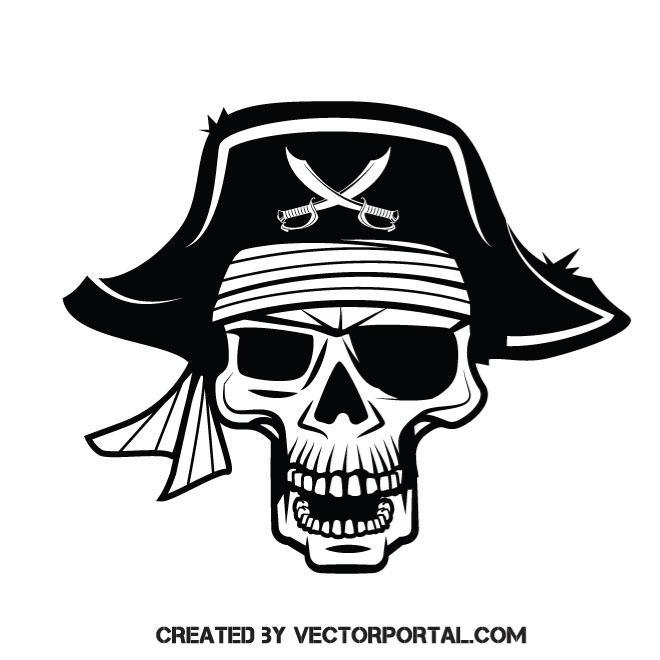 660x660 Pirate Skull Vector Clip Art