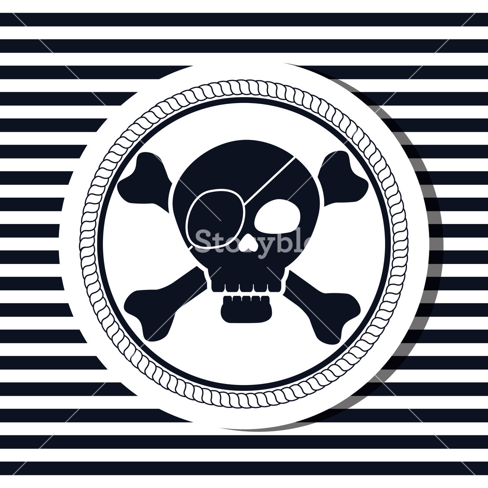 1000x1000 Nautical Frame With Pirate Skull Vector Illustration Design