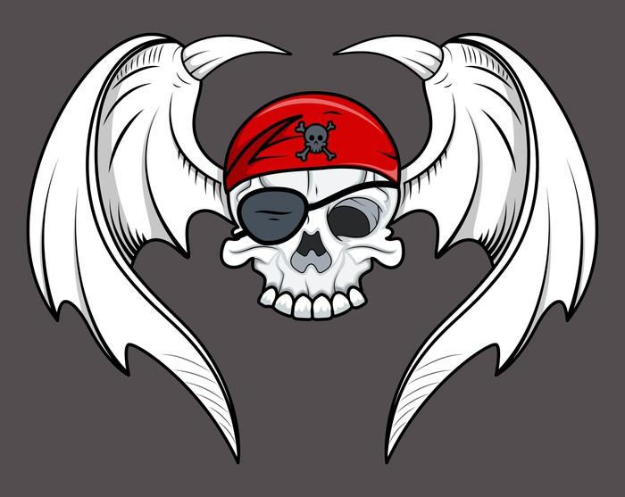 700x557 Flying Pirate Skull