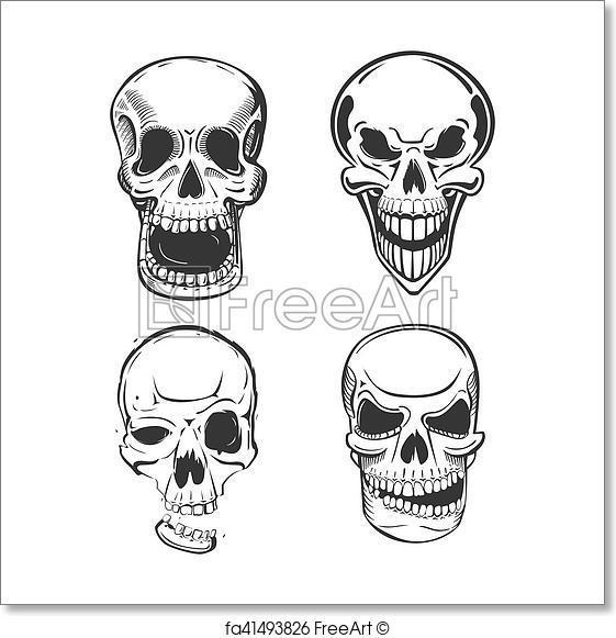561x581 Free Art Print Of Skull Vector Tattoo Art In Sketch Style. Skull