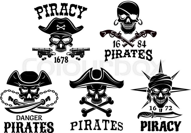 800x555 Piracy Emblems And Jolly Roger Pirate Vector Isolated Icons Of