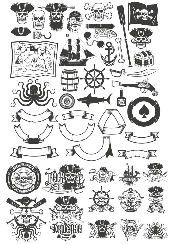 595x842 Pirate Vector Art Collection Free Vector Download