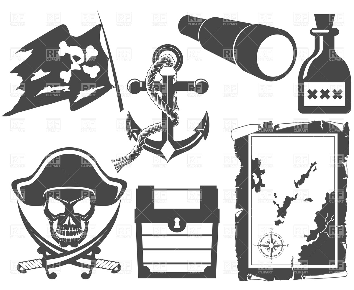 1200x982 Pirate Black And White Icon Set With Jolly Roger Vector Image