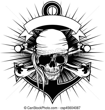 450x470 Pirate Skull Bandana. Vector Illustration Pirate Sign Skull With