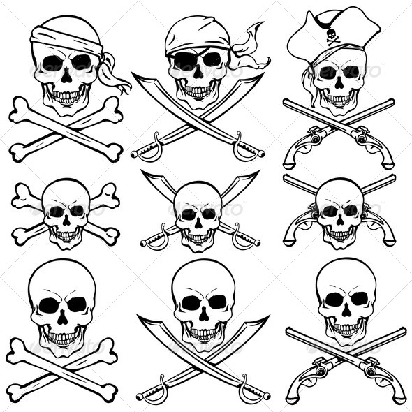 590x590 Vector Set Of Pirate Skulls By Nikiteev Graphicriver