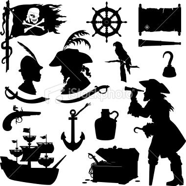 380x379 Pirate Silhouettes Including Ship, Treasure Chest, Parrot, Rum