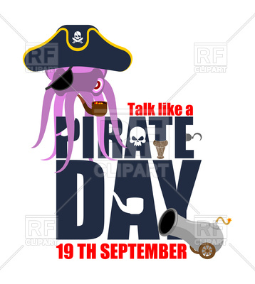 358x400 International Talk Like A Pirate Day. Octopus Pirate. Vector Image