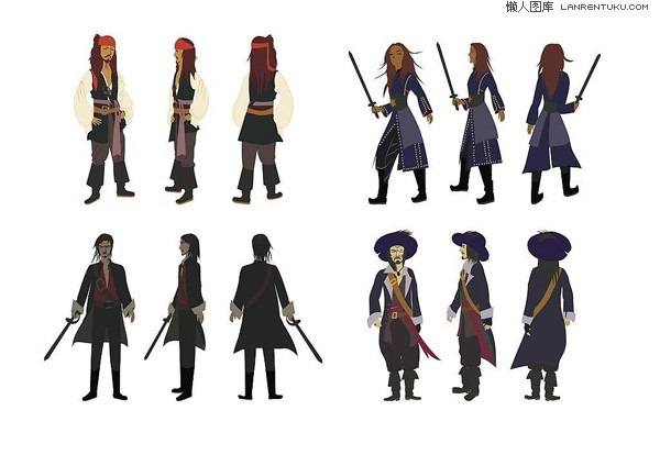 600x424 Pirates Of The Caribbean Characters Vector Material My Free