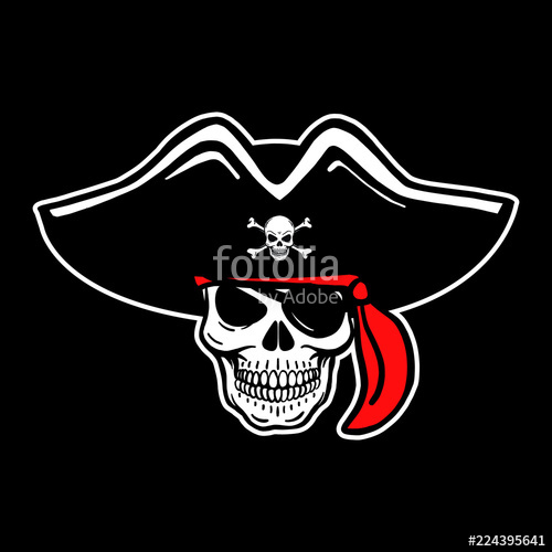 500x500 Bad Vector Of Human Pirate Skulls. Tattoo Motive, Colorful, Red