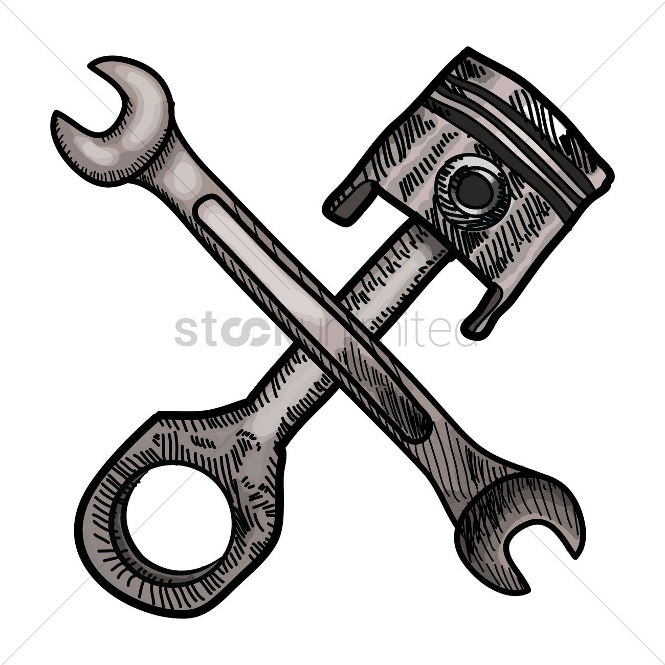 1300x1300 Piston And Spanner Vector Image