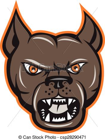 352x470 Pitbull Dog Mongrel Head Angry Cartoon. Illustration Of An Angry