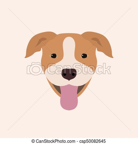 450x470 American Pitbull Terrier Portrait. Vector Illustration Portrait Of