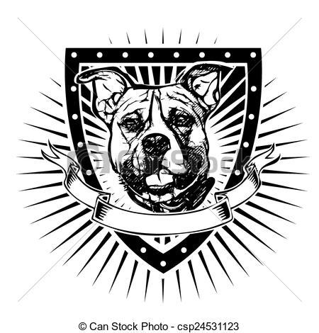 450x470 Free Pitbull Vector Pit Bull Shield Pit Bull Illustration On