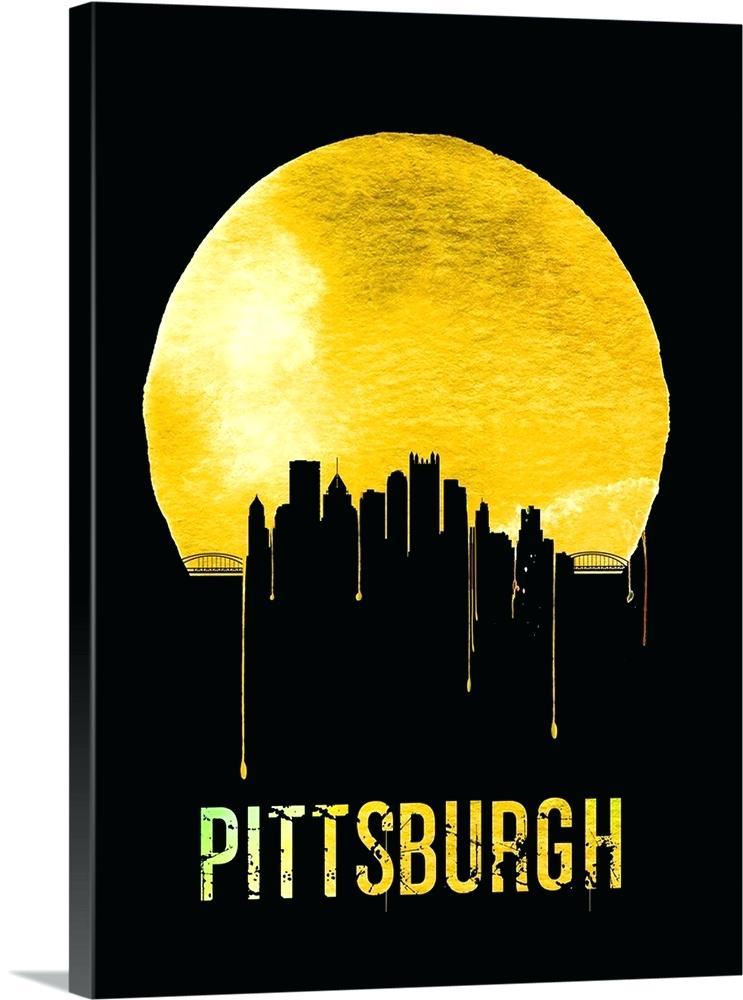 743x1000 Pittsburgh Silhouette Skyline Yellow Pittsburgh Skyline Silhouette