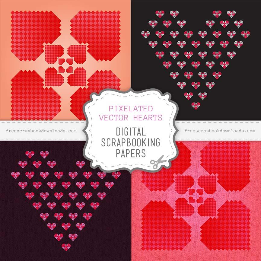 865x865 Pixelated Valentine Heart Scrapbook Papers