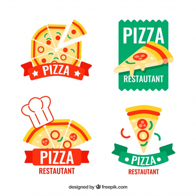 626x626 Pack Of Four Pizza Logos Vector Free Download
