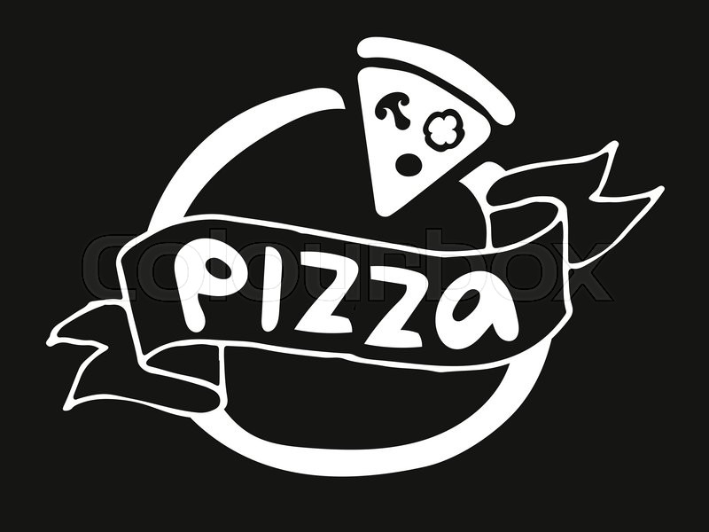 800x600 Pizza Flat Icon Logo Template. Pizza Food Silhouette. Pizza Piece