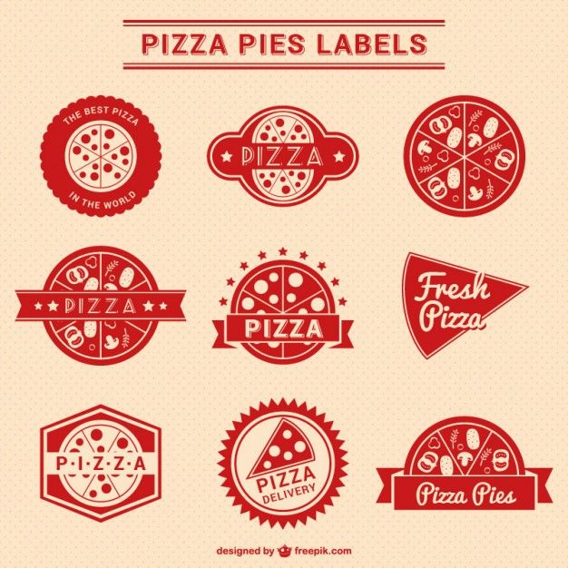 626x626 Red Pizza Labels Collection Free Vector Pizza