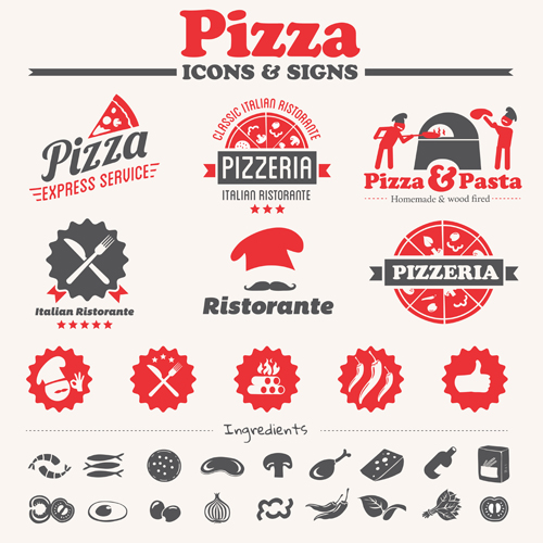 500x500 Vintage Pizza Icons With Logos Vector Free Download