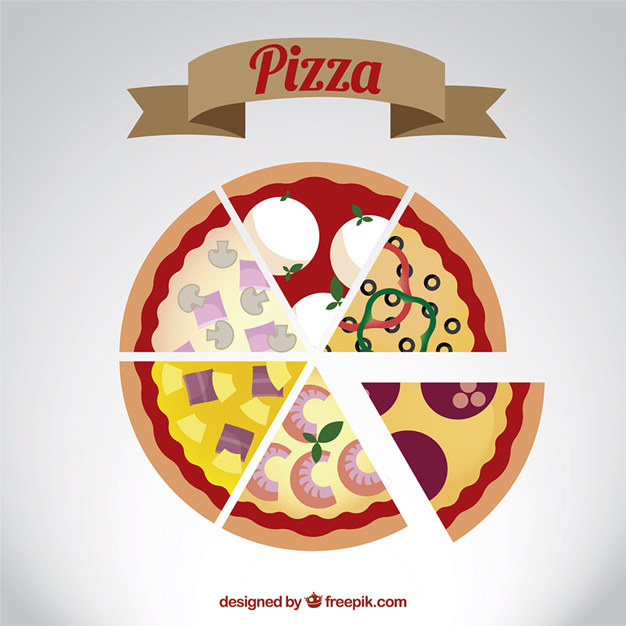 626x626 Different Pizza Slices Vector Free Download