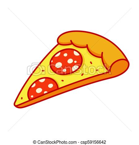 450x470 Pepperoni Pizza Slice Drawing In Cartoon Comic Style. Isolated