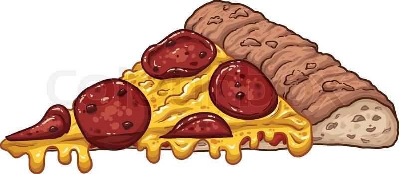 800x350 A Slice Of Pepperoni Pizza. Vector Clip Art Illustration With