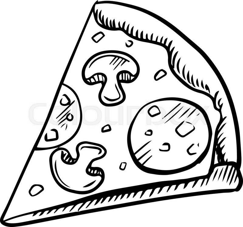 800x748 Black And White Slice Of Pepperoni Pizza With Mushrooms, High