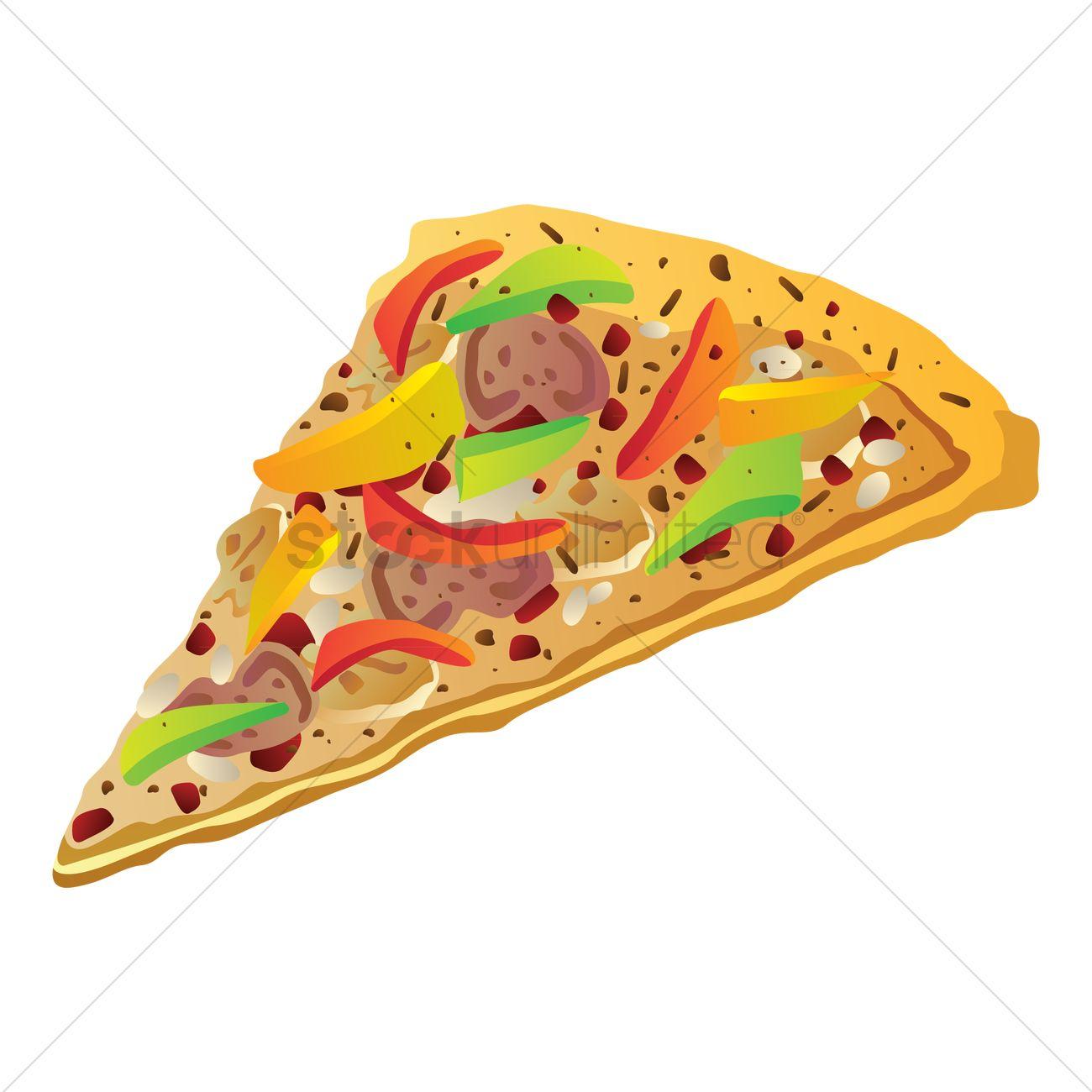 1300x1300 Vegetable Pizza Slice Vector Image