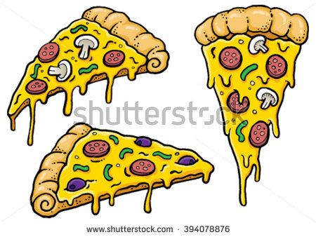 450x338 Cartoon Pizza Slices With Dripping Cheese. Vector Illustration