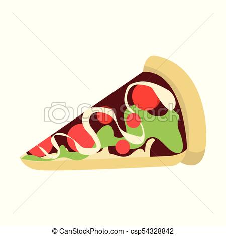 450x470 Cartoon Pizza Slice Vector Illustration Graphic Design.