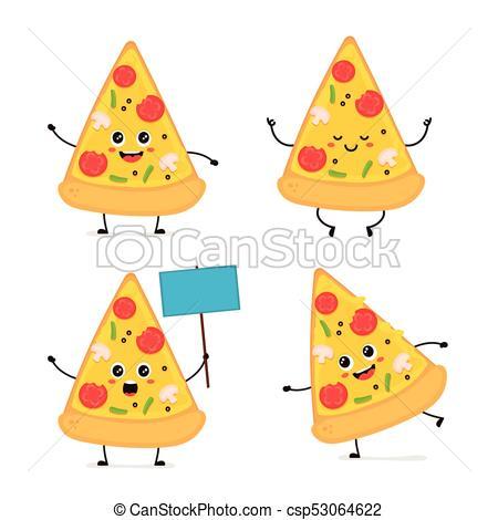 450x470 Cute Smiling Happy Funny Cute Pizza Slice Set.vector Modern Flat