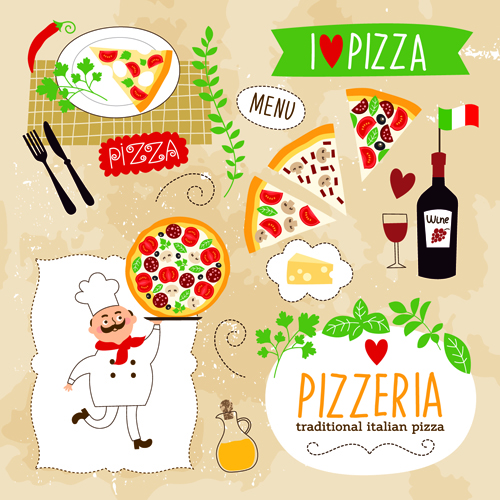 500x500 Creative Pizza Design Elements Vector 04 Free Download