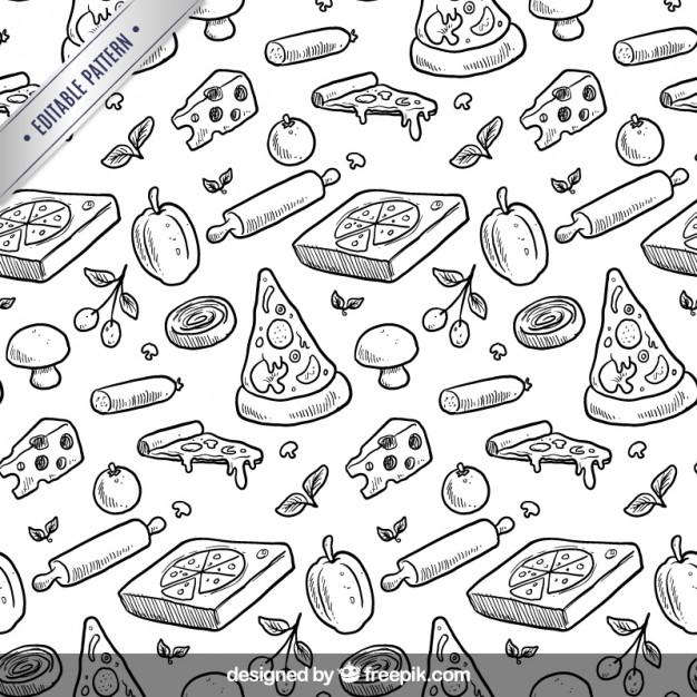 626x626 Hand Drawn Pizza Pattern Free Vectors Ui Download