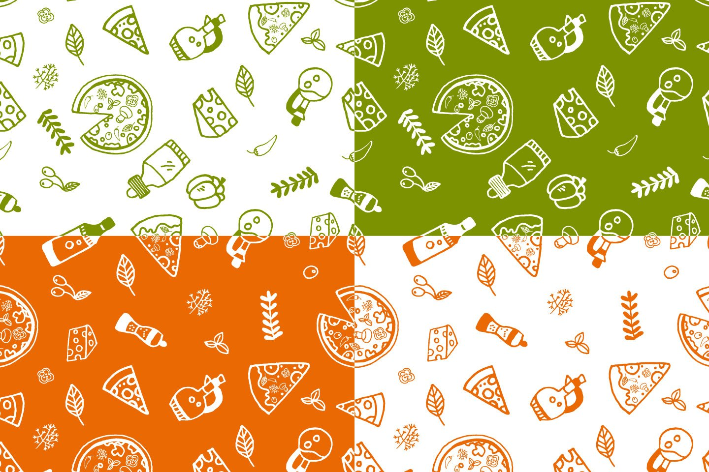1440x960 Pizza Vector Seamless Free Pattern