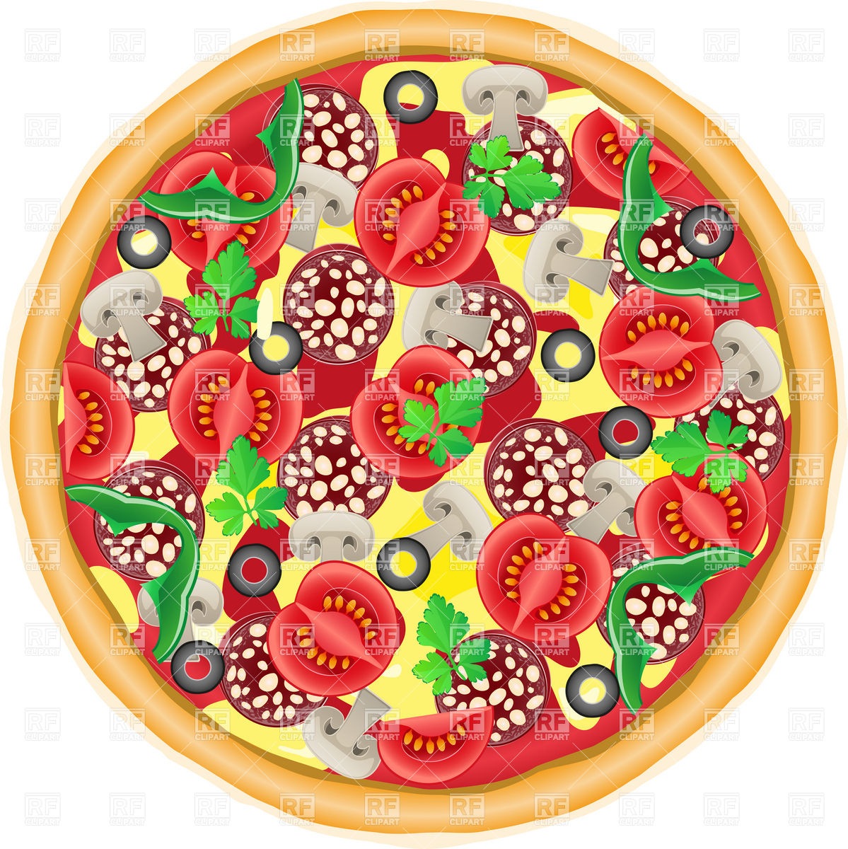 1199x1200 Whole Pie Pizza Top View Vector Image Vector Artwork Of Food And