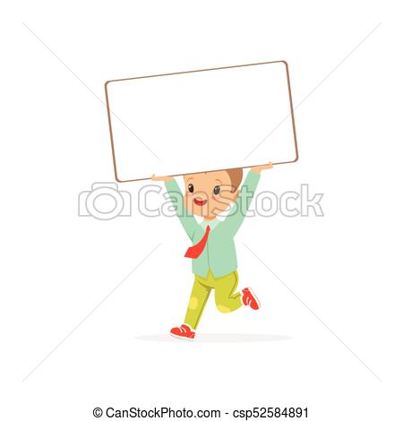 450x470 Cute Boy Character Holding White Empty Message Board Above His