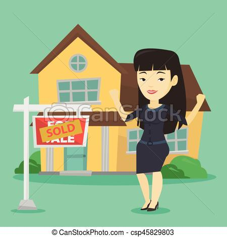 450x470 Real Estate Agent With Sold Placard. Excited Asian Real Estate