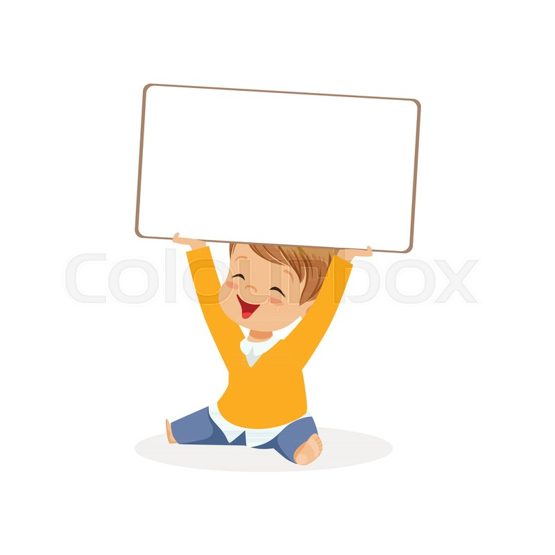 800x800 Sweet Boy Character Holding White Empty Message Board Above His