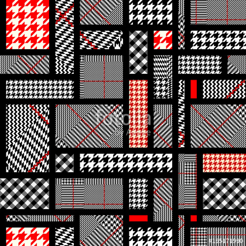 500x500 Seamless Vector Pattern. Patchwork Of Classic Glen Plaid Patterns