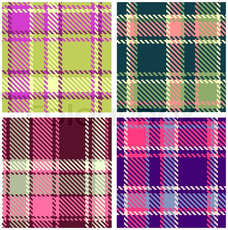 793x800 Set Of Seamless Checkered Vector Plaid Pattern Stock Vector