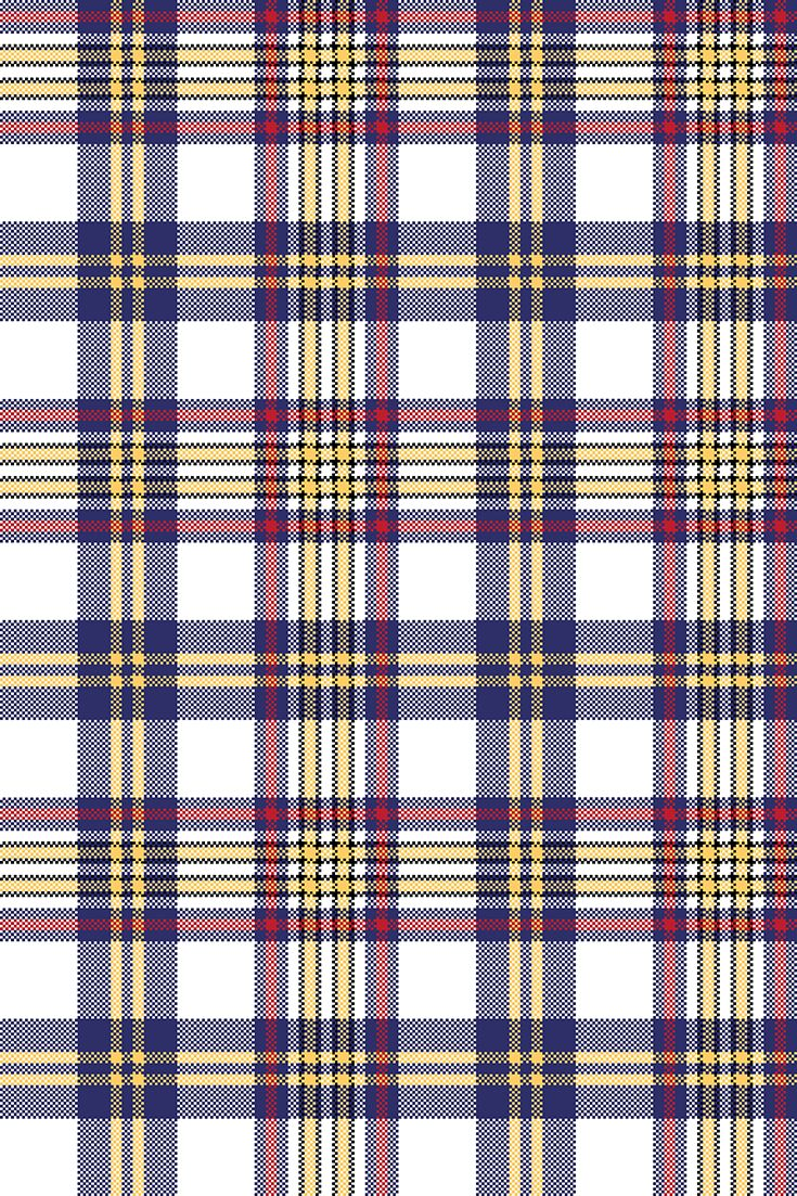 735x1103 White Blue Pixel Check Seamless Plaid Pattern. Vector Illustration