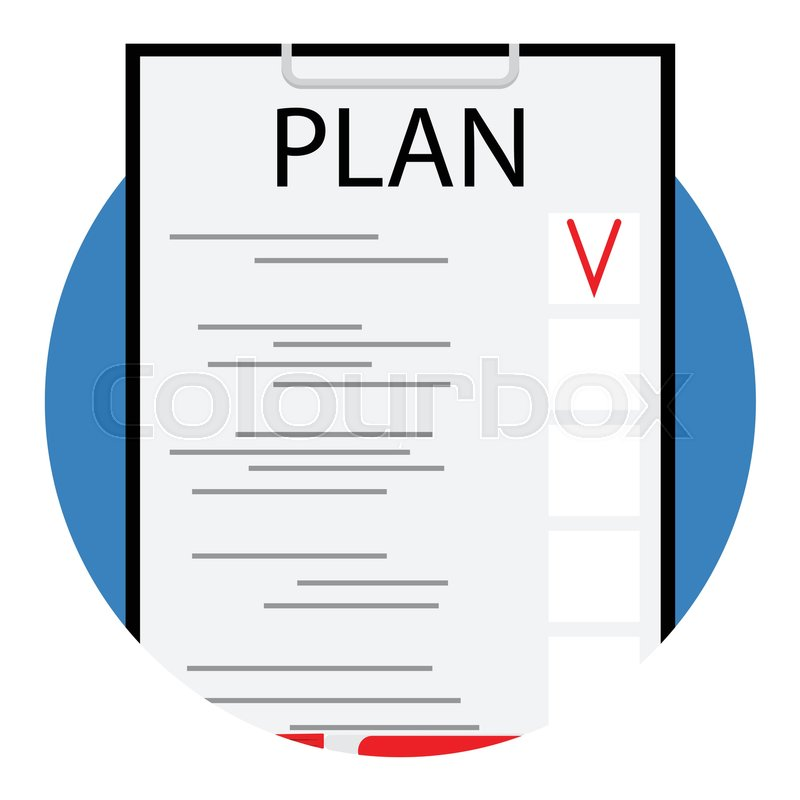 800x800 Plan Icon Vector Flat. Business Checklist, Marketing Document Plan